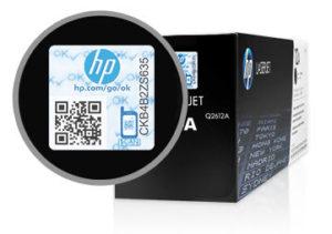 Проверка наклейки на картридже HP